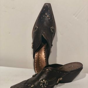 BCBGirls Shoes - BCBG Girls Leather Cowgirl Mules Size 7.5 Narrow